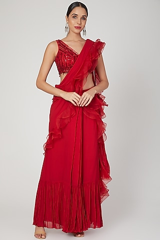 Red Embellished Pre-Stitched Saree Set by Sanya Gulati