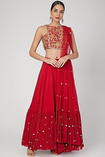 Red Embroidered Skirt Set by Sanya Gulati
