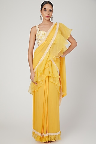 Yellow Embroidered Pre-Stitched Saree Set by Sanya Gulati