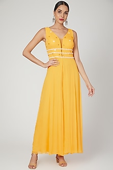Yellow Embroidered Jumpsuit With Belt by Sanya Gulati