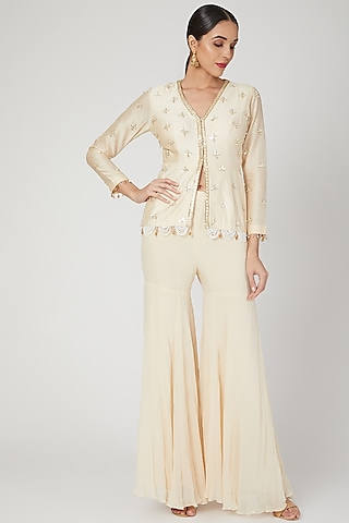 Ivory Embroidered Top With Pants by Sanya Gulati