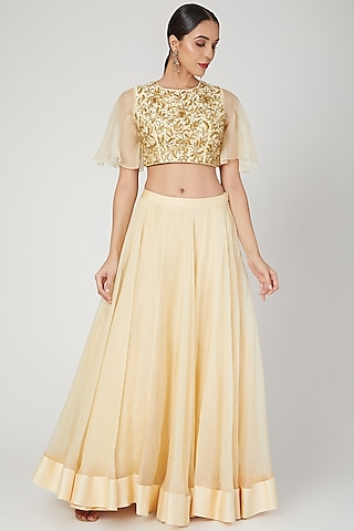 Beige Embroidered Skirt Set by Sanya Gulati