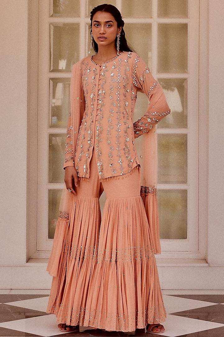 Rose Gold Hand Embroidered Sharara Set by Sanya Gulati