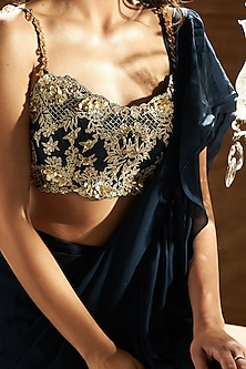 Midnight Blue Embroidered Ruffled Saree Set by Sanya Gulati