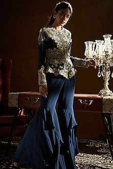 Midnight Blue Embroidered Peplum Jacket With Pants by Sanya Gulati