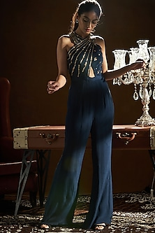 Blue Embroidered Crossover Jumpsuit by Sanya Gulati