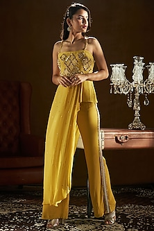 Mustard Yellow Embroidered Top With Pants by Sanya Gulati