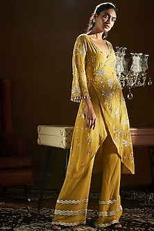 Mustard Yellow Embroidered Overlap Kurta With Pants by Sanya Gulati