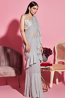 Grey Embroidered Ruffled Saree Set by Sanya Gulati