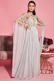 Grey Embroidered Gown by Sanya Gulati