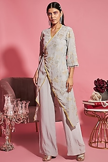 Grey Embroidered Overlap Kurta With Pants by Sanya Gulati
