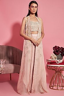 Nude Pink Embroidered Bustier With Cape & Pants by Sanya Gulati