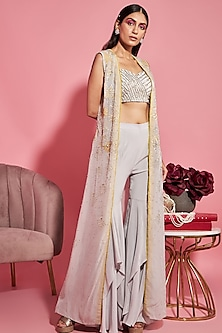 Grey Embroidered Bustier With Cape & Pants by Sanya Gulati