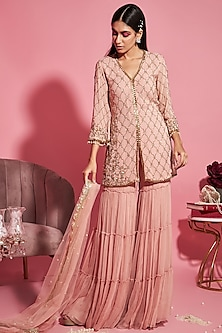 Blush Pink Embroidered Shirt With Sharara Pants by Sanya Gulati-EDITOR'S PICK