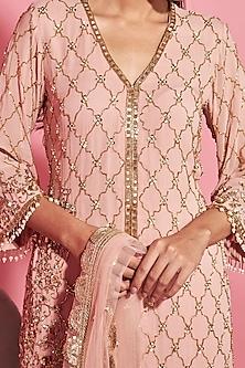 Blush Pink Embroidered Shirt With Sharara Pants by Sanya Gulati