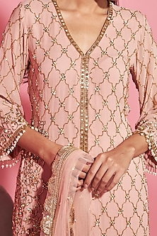 Blush Pink Embroidered Shirt With Sharara Pants by Sanya Gulati