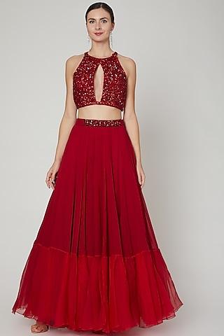 Red Embroidered Blouse With Lehenga by Sanya Gulati