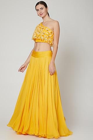 Yellow Embroidered Skirt Set by Sanya Gulati