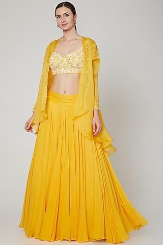Yellow Embroidered Jacket Set by Sanya Gulati