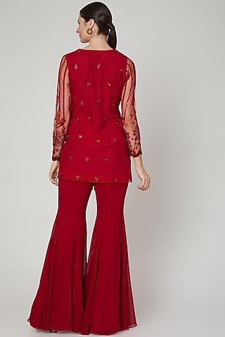 Red Embroidered Kurta Set by Sanya Gulati