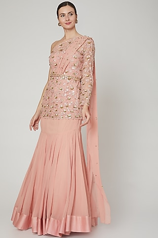Blush Pink Embroidered Mermaid Skirt Set by Sanya Gulati