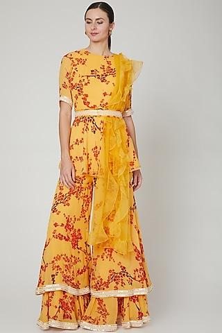 Yellow Floral Printed Sharara Set by Sanya Gulati