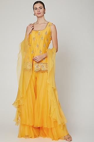 Yellow Embroidered Sharara Set by Sanya Gulati