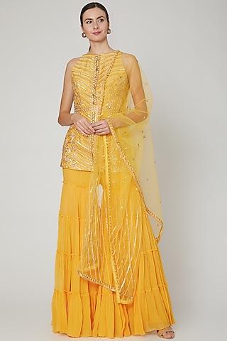 Yellow Hand Embroidered Sharara Set by Sanya Gulati