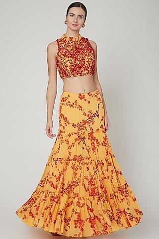 Yellow Embroidered & Printed Skirt Set by Sanya Gulati
