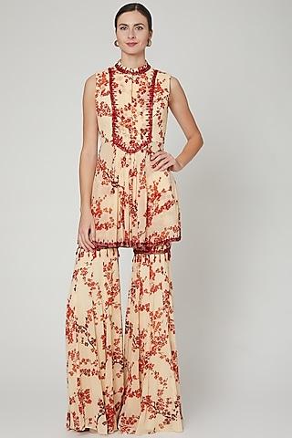 Beige & Red Embroidered Printed Kurta Set by Sanya Gulati