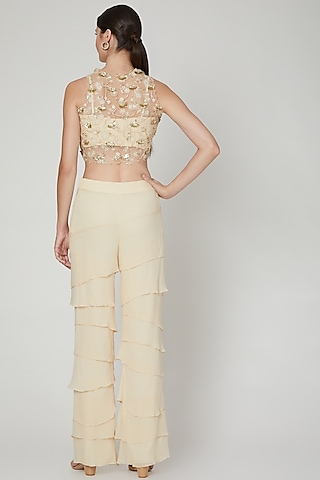 Beige Embroidered Top With Pants by Sanya Gulati