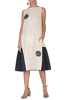 Off White Panelled Applique Dress by Sagaa by Vanita
