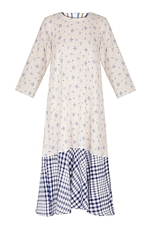 White Floral Printed & Checkered Panelled Dress by Sagaa by Vanita
