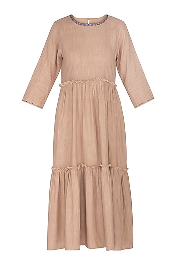 Nude Tiered Dress by Sagaa by Vanita