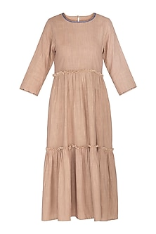 Nude Tiered Dress by Sagaa by Vanita