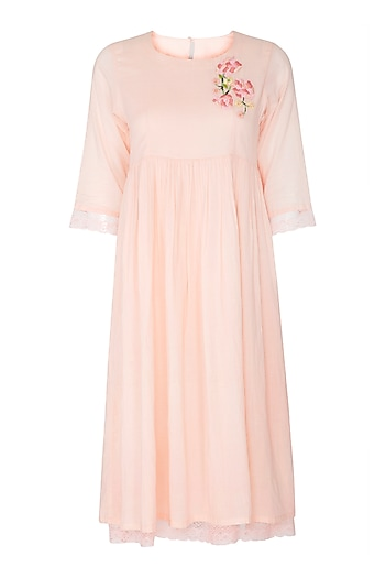 Rose Pink Embroidered Midi Dress by Sagaa by Vanita