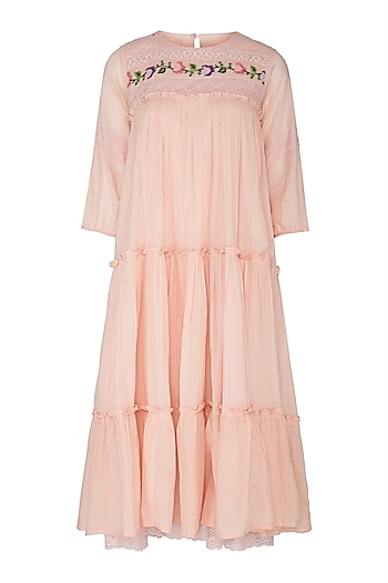 Peach Embroidered Tiered Dress by Sagaa by Vanita