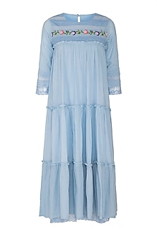 Sky Blue Tiered Dress by Sagaa by Vanita