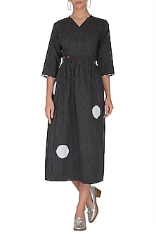 Black Applique Overlap Dress by Sagaa by Vanita
