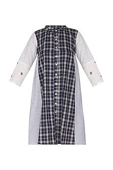 Blue Checkered Recycled Dress by Sagaa by Vanita