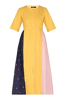 Mustard Panelled Dress by Sagaa by Vanita
