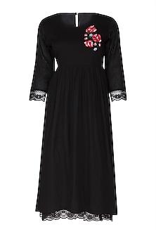 Black Embroidered Dress by Sagaa by Vanita