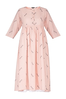 Peach Printed Jamdani Dress With Inner by Sagaa by Vanita