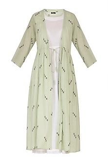 Emerald Green Printed Jacket Dress With Inner by Sagaa by Vanita
