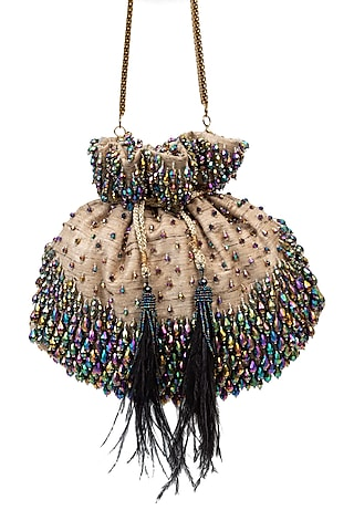 Multi Colored Sequins Embellished Handcrafted Potli by SG BY SONIA GULRAJANI