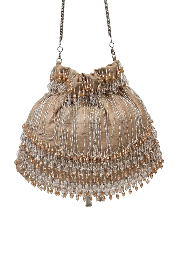 Beige Crystal Embellished Handcrafted Potli by SG BY SONIA GULRAJANI