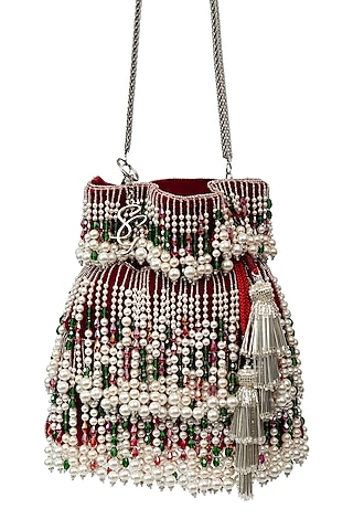 Red Pearl Embellished Handcrafted Potli by SG BY SONIA GULRAJANI
