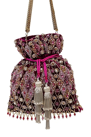 Pink Sequins Embellished Handcrafted Potli by SG BY SONIA GULRAJANI