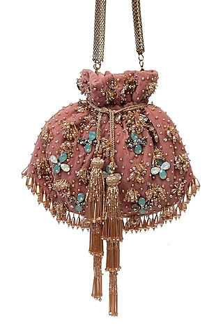 Pink Velvet Pearl Embellished Handcrafted Potli by SG BY SONIA GULRAJANI