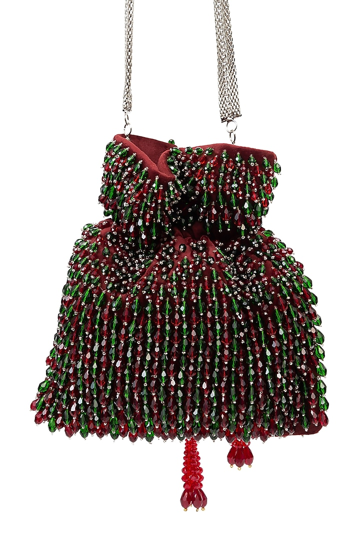 Green & Red Embellished Handcrafted Potli by SG BY SONIA GULRAJANI
